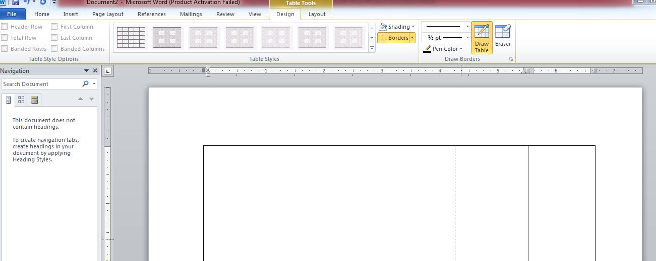 جدول در نرم افزار ورد