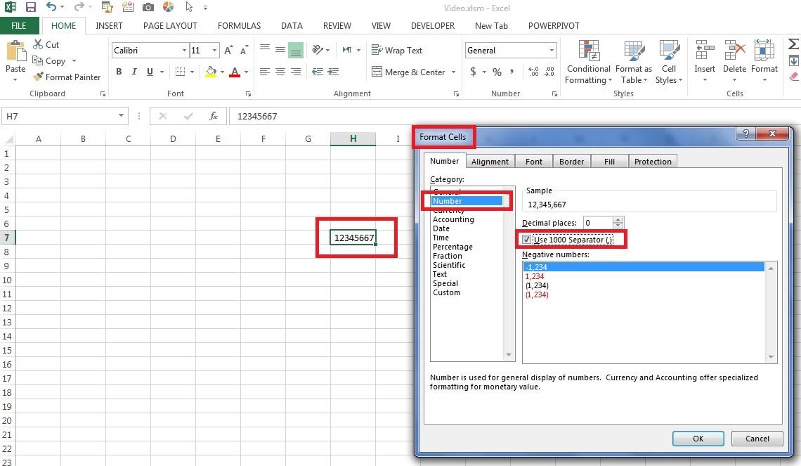 جداکننده ارقام تکست باکس ها در فرم های اکسل
